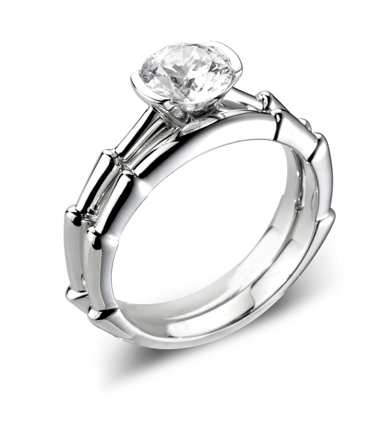 Slate Platinum Diamond Solitaire Engagement & matching Wedding Ring